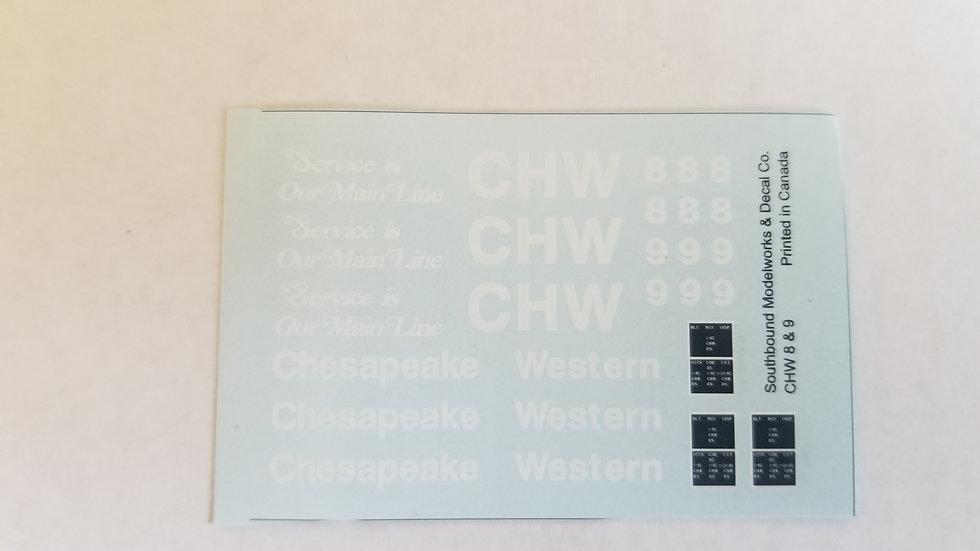 Chesapeake Western caboose decals No.8/9