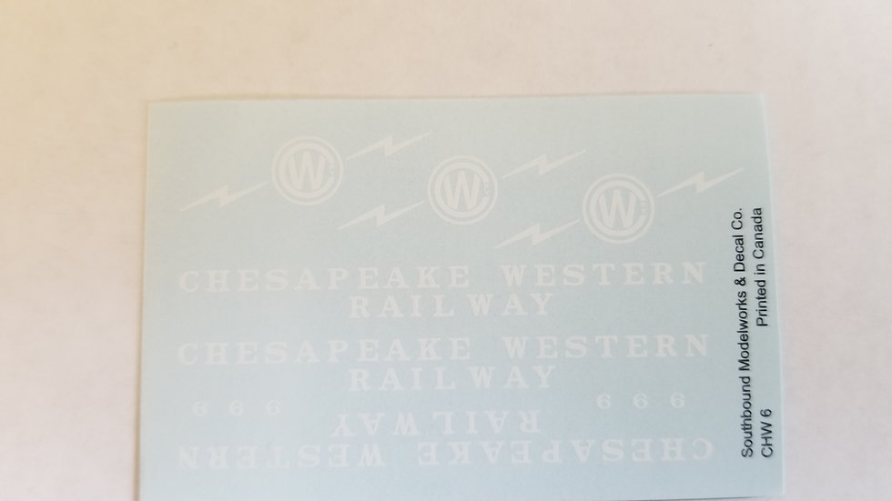 Chesapeake Western caboose decals No.6