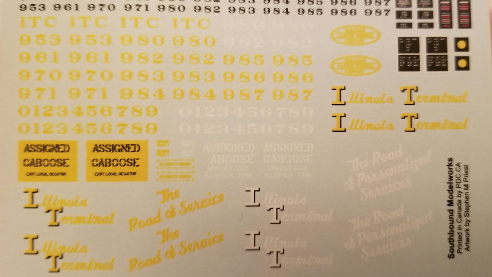 Illinois Terminal caboose decals 1/87th HO scale