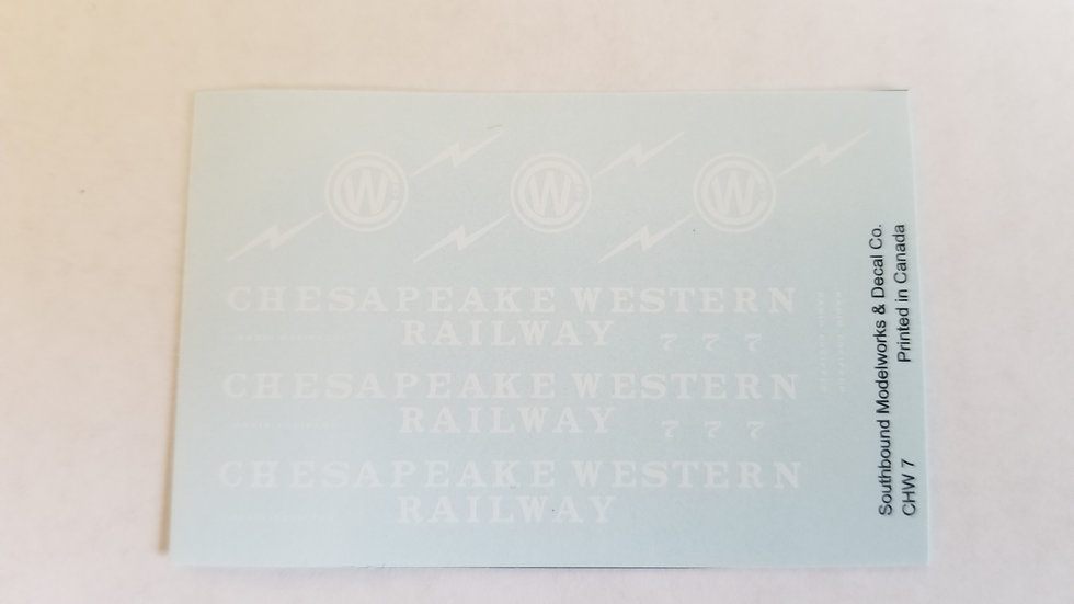 Chesapeake Western caboose decals No.7