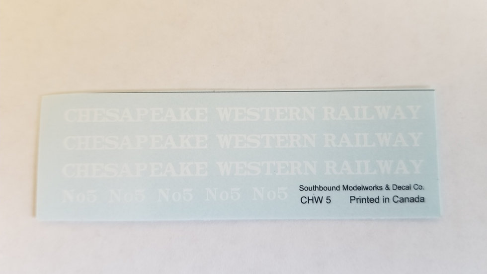 Chesapeake Western caboose decals No.5