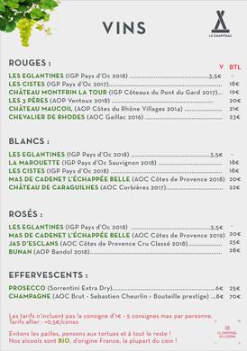Le Chapiteau - Carte des vins Ete 2020 (