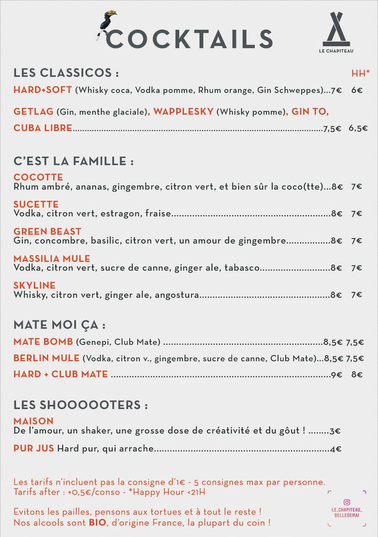 Le Chapiteau - Carte cocktails Ete 2020