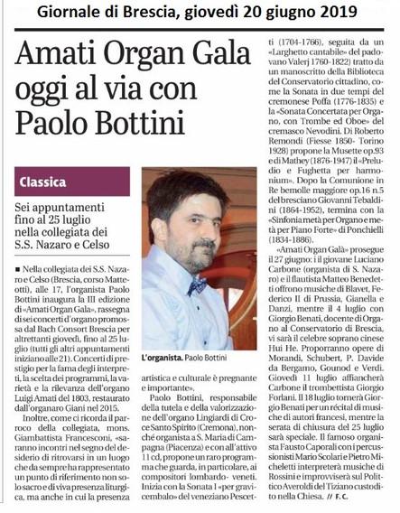 Giornale di Brescia, 20 giugno 2019