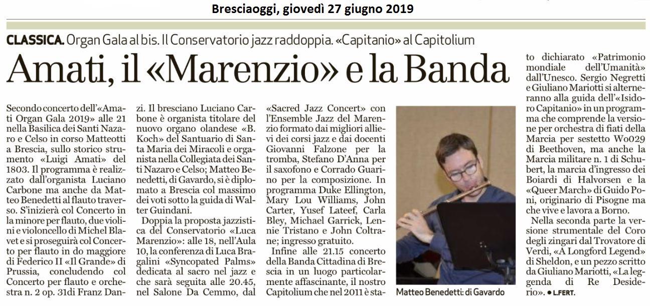 Bresciaoggi, 27 giugno 2019