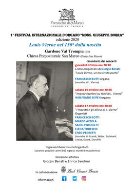 "Festival Internazionale d'Organo ""Mons. Giuseppe Borra"" 2020"