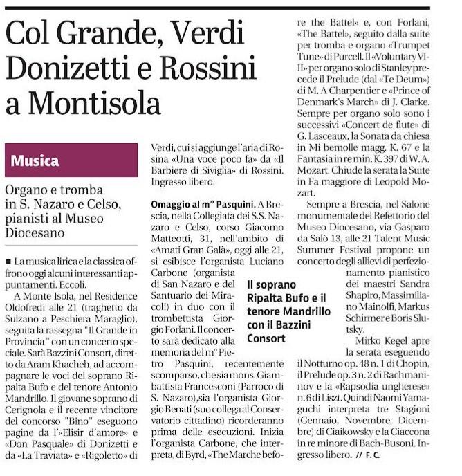 Giornale di Brescia, 11 luglio 2019