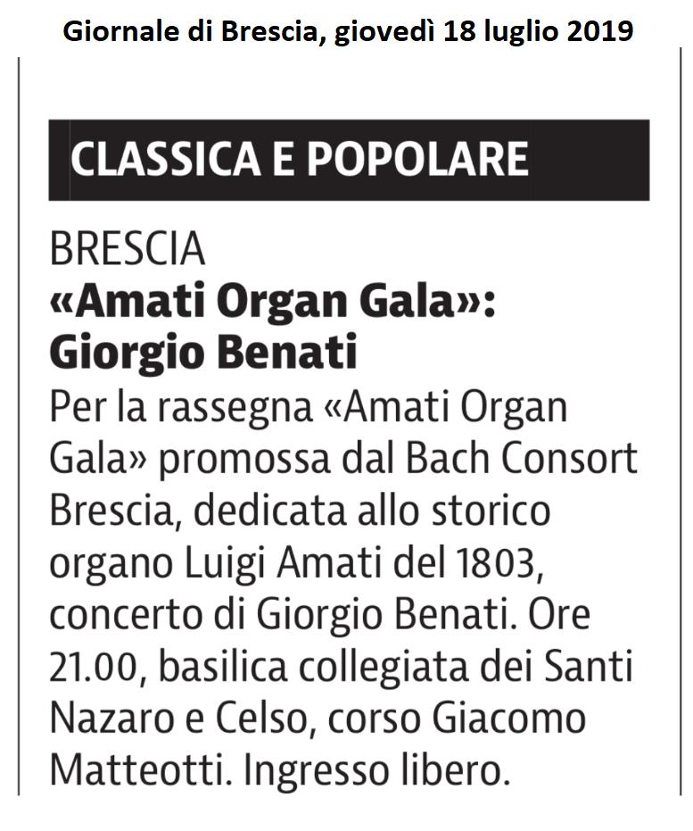 Giornale di Brescia, 18 luglio 2019