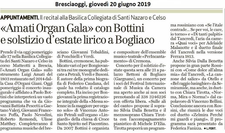 Bresciaoggi, 20 giugno 2019