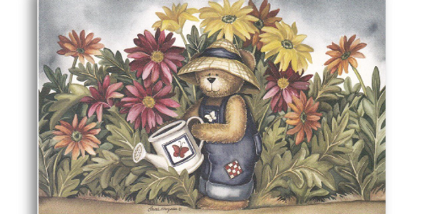 Bear Watering Flowers - C-11M