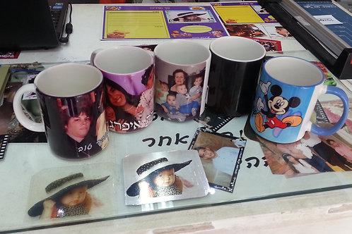 הדפסה על כוס לבנה כולל כיתוב ועיצוב