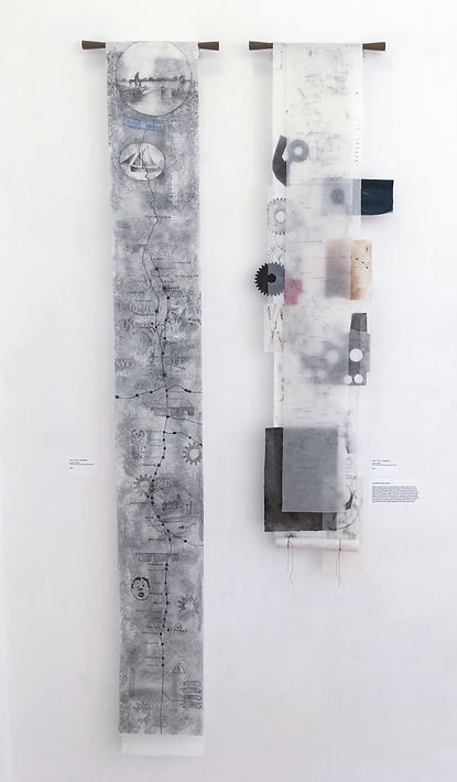 Zoe Heath, Susan Haycock, Susan Kester, contemporary drawing, Ghost Mills, SVA, Walking the Land, River Severn, Stroud Valleys Textile Trust, graphite, frottage, ink, history, canals, heritage