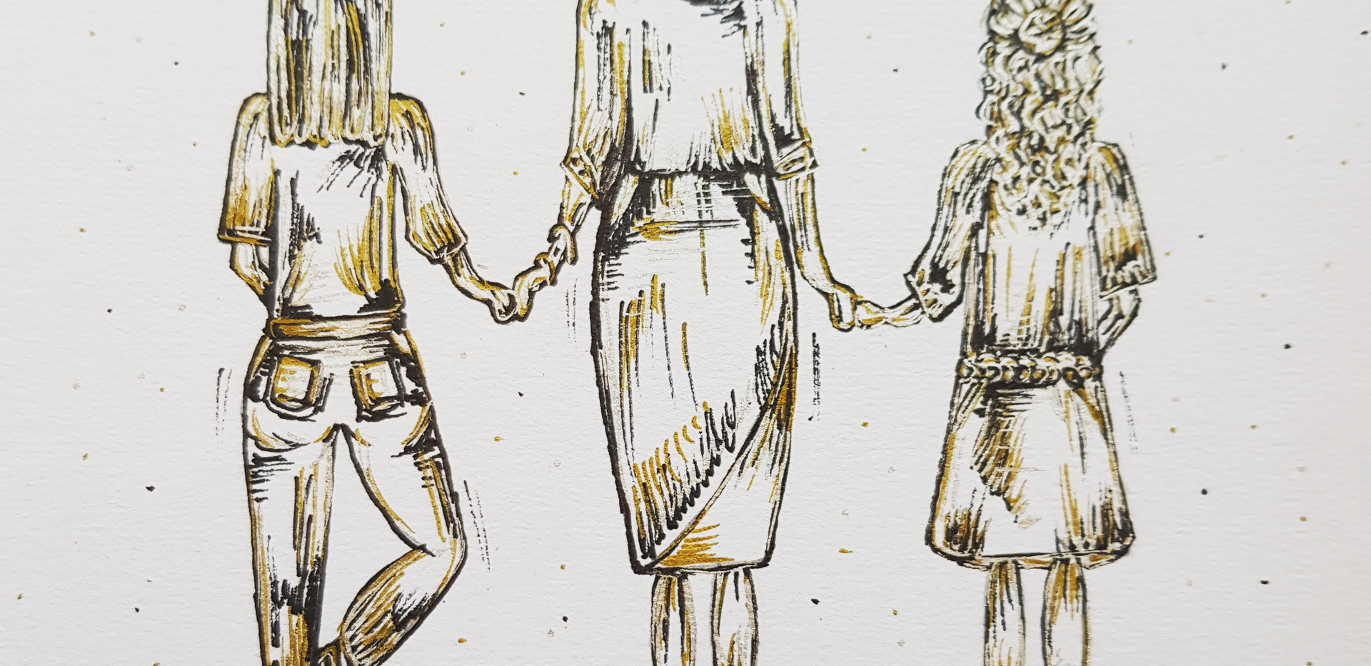 Commission - Family Drawing - Two sisters and their mum