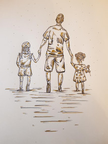 Commission - Family Drawing - A dad with his two daughters