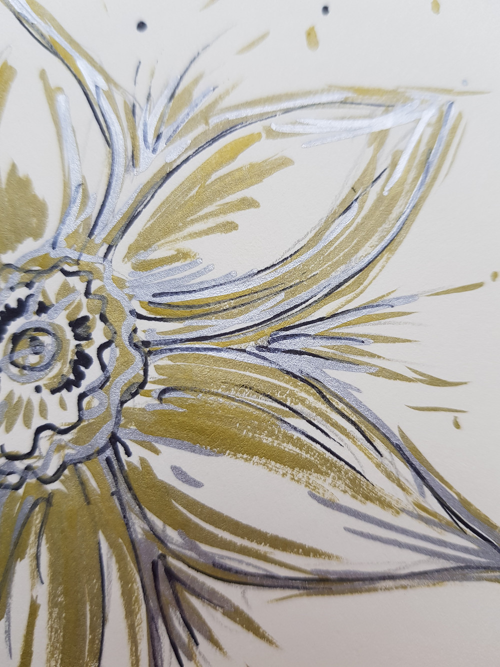 Drawing of a Daffodil. Ink and Pen