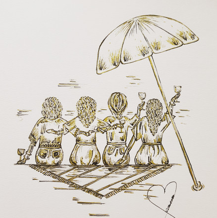 Commission - Family Drawing - Three sisters and their mum