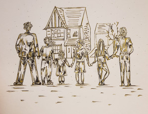 Commission - Family Drawing - New House, New Beginnings
