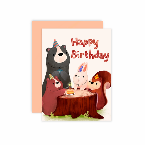 Happy Birthday Forest Animals Greeting Card