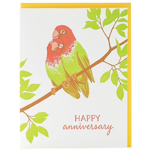 Happy Anniversary Parrots Greeting Card