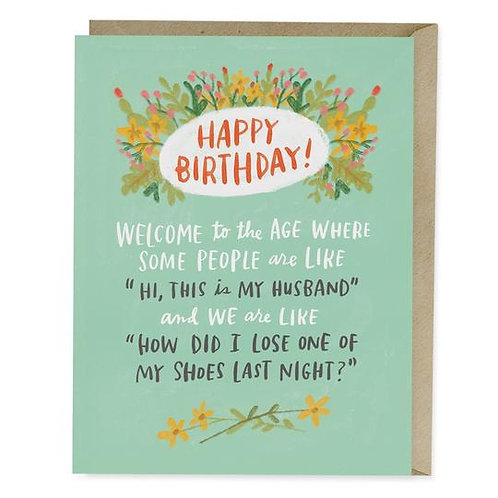 Losing Shoes Birthday Greeting Card