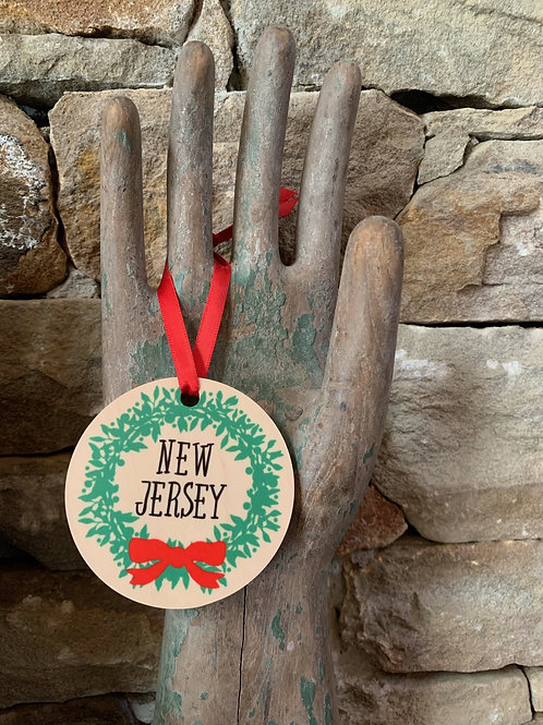 New Jersey Wreath Ornament