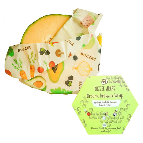 Buzzee Busy Harvest Beeswax Reusable Food Wraps