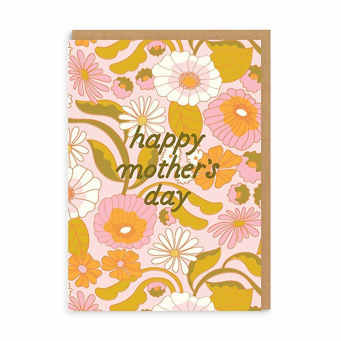 Happy Mother's Day Retro Flowers Greeting Card