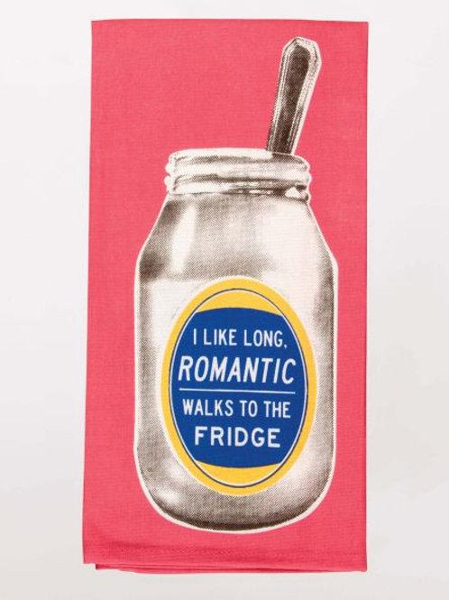 I Like Romantic Walks to Fridge Dishtowel