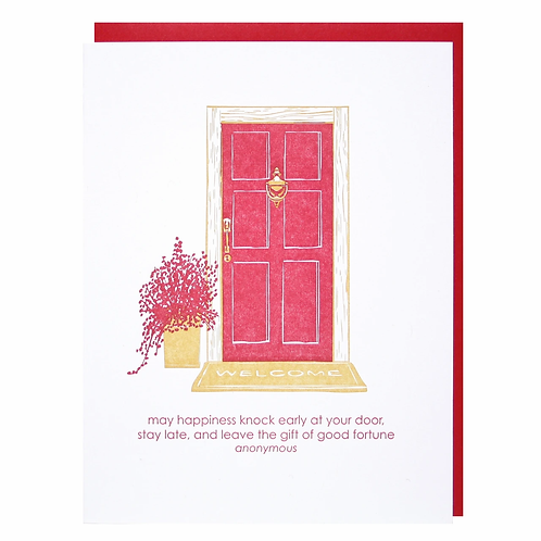 May Happiness Knock Early At Your Door Greeting Card
