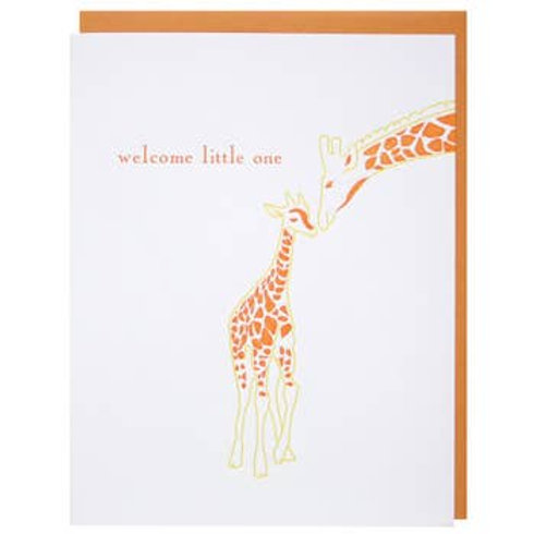 Welcome Little One Giraffe Greeting Card