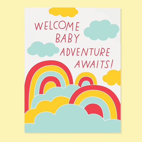 Welcome Baby Adventure Awaits Greetings Card