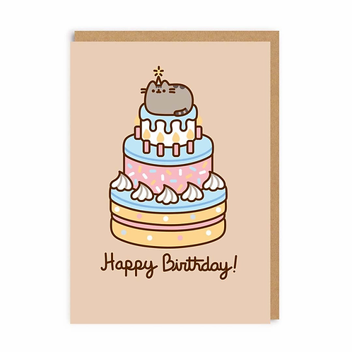 Happy Birthday Pusheen Cat Greeting Card