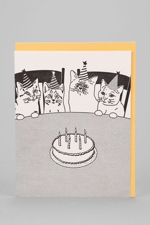 Cat Party Birthday Greeting Card