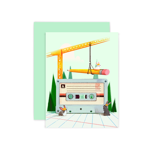 Construction Bunnies Greeting Card