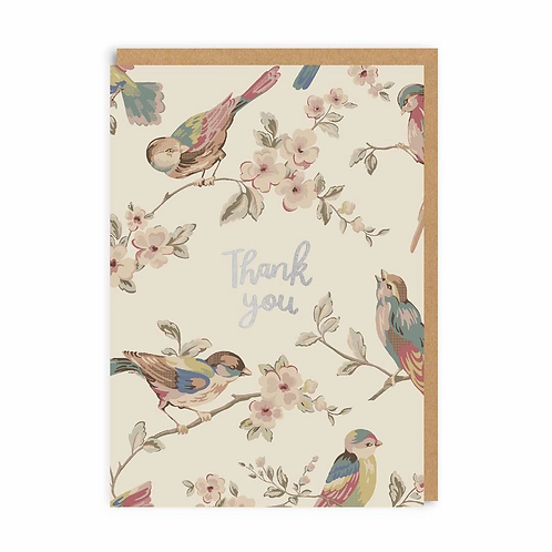 Thank You Birds Foil Greeting Card