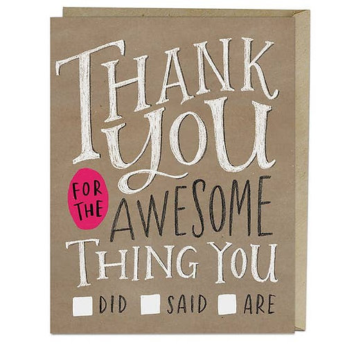 Thank You Check List Greeting Card