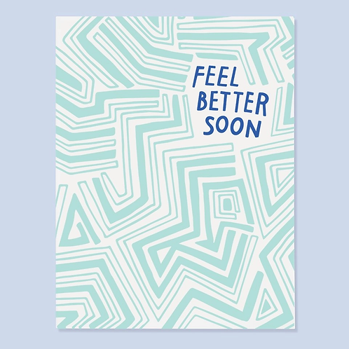 Feel Better Soon Blue Greeting Card