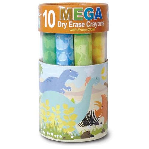 10 Dinosaur Mega Dry Erase Crayons