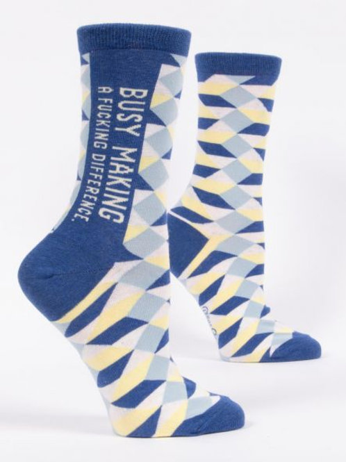 Women's Busy Making A Fucking Difference Crew Sock