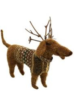 Reindeer Dachshund and Poodle Ornament