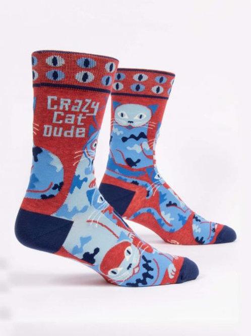 Crazy Cat Dude Crew Sock