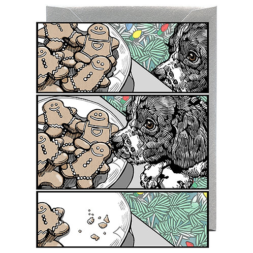 Holiday Cookies and Dog Greeting Card