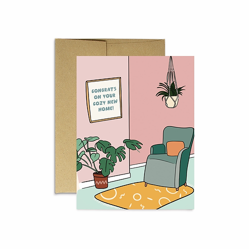 Congrats on Your Cozy New Home Greeting Card