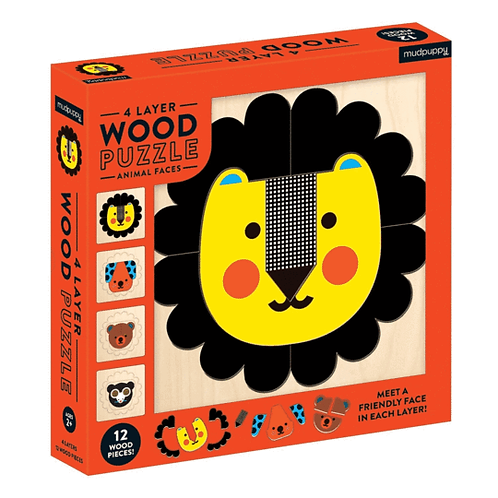 4 Layer Wood Animal Faces Puzzle