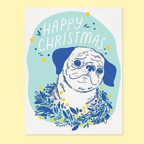 Happy Christmas Pug Greeting Card