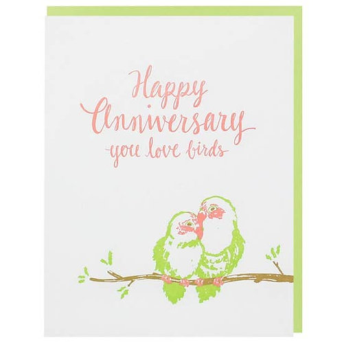Happy Anniversary Love Birds Greeting Card