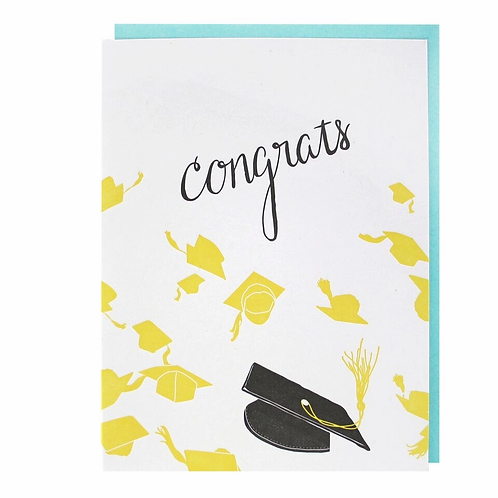 Congrats Grad Caps Greeting Card