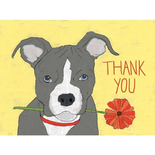 Thank You Dog With Flower Greeting Card