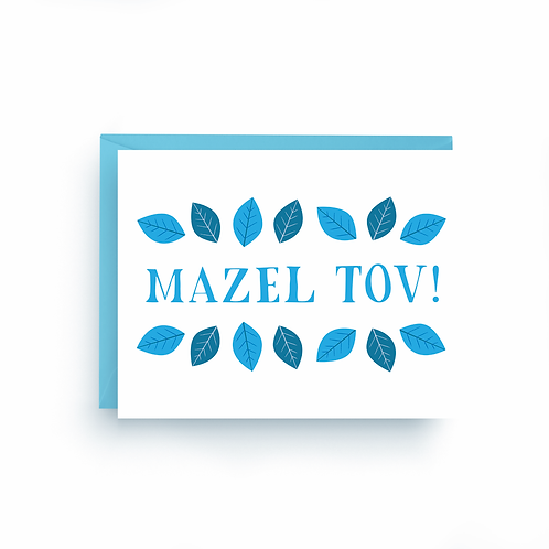 Mazel Tov Blue Leaf Greeting Card