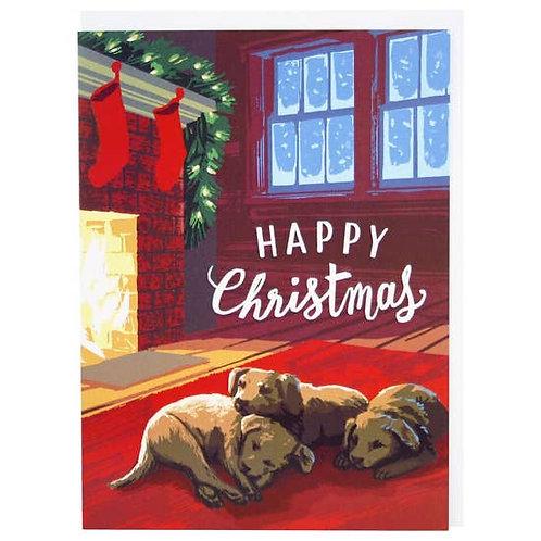Snoozing Puppies Christmas Greeting Card
